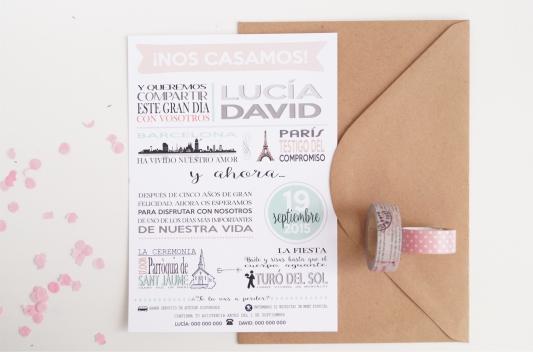 Invitación de boda ilustraciones portada