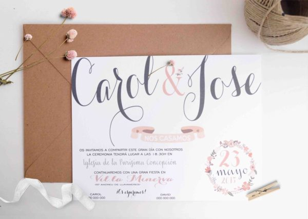 invitacion de boda caligrafica horizontal
