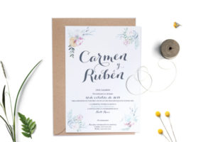 invitacion de boda con letras caligraficas