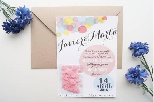 Invitacion de boda con confeti
