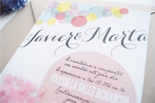 Detalle de la invitacion de boda confetti