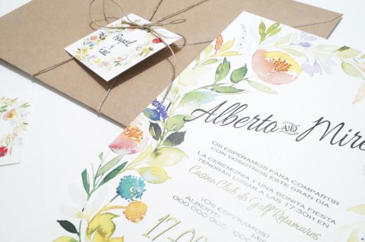 Detalle de la invitación de boda La silvestre