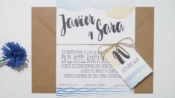 Invitación de boda en la playa