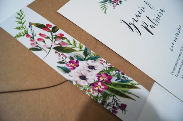 invitacion de boda bouquet flores detalle