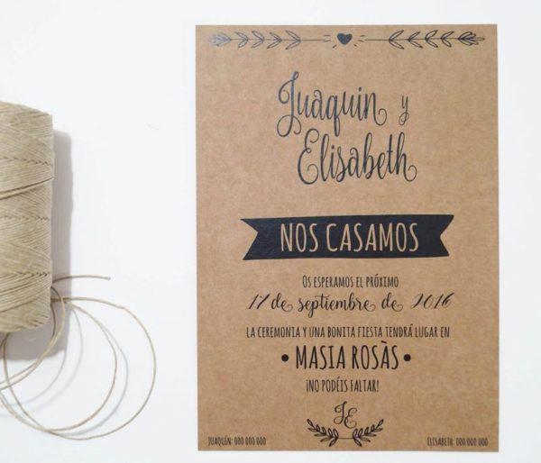 invitacion de boda craft