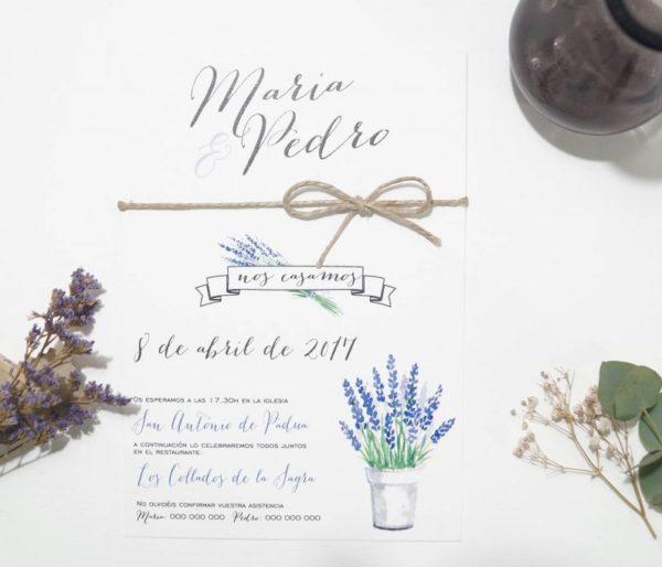 invitaciones de boda lavanda