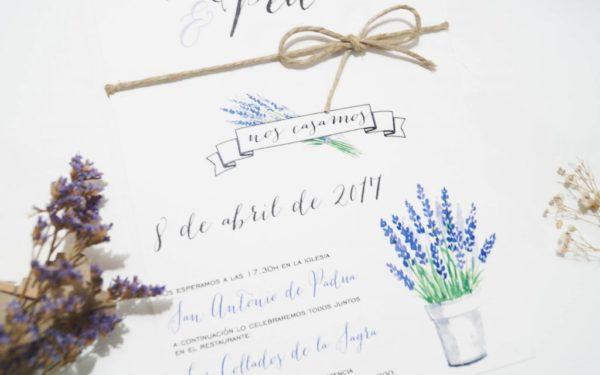 invitaciones de boda lavanda detalle