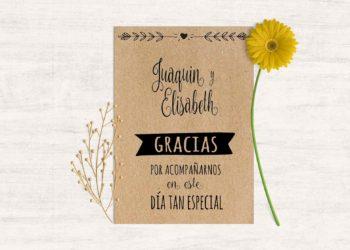 tarjeta agradecimiento boda baratas