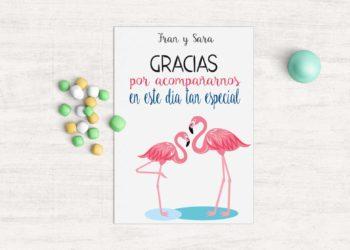 tarjeta agradecimiento invitados boda tropical
