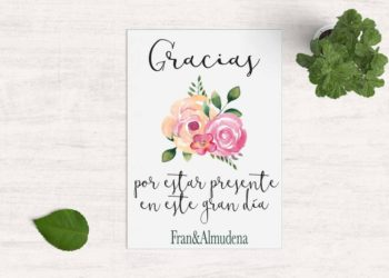 tarjeta agradecimiento boda moderna flores