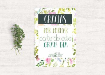 tarjetas de agradecimiento boda flores