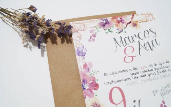 invitaciones de boda flores sobre
