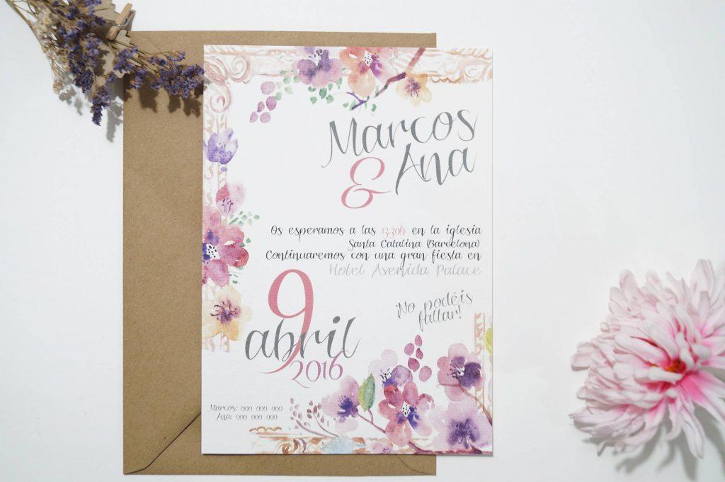 invitaciones de boda marco y flores en sobre