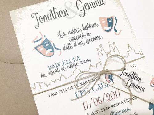 Invitacion de boda personalizada teatro detalle