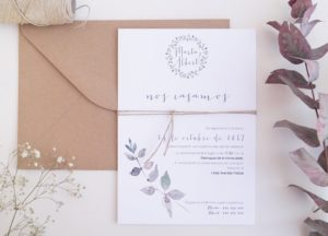 Invitación de boda campestre y romántica
