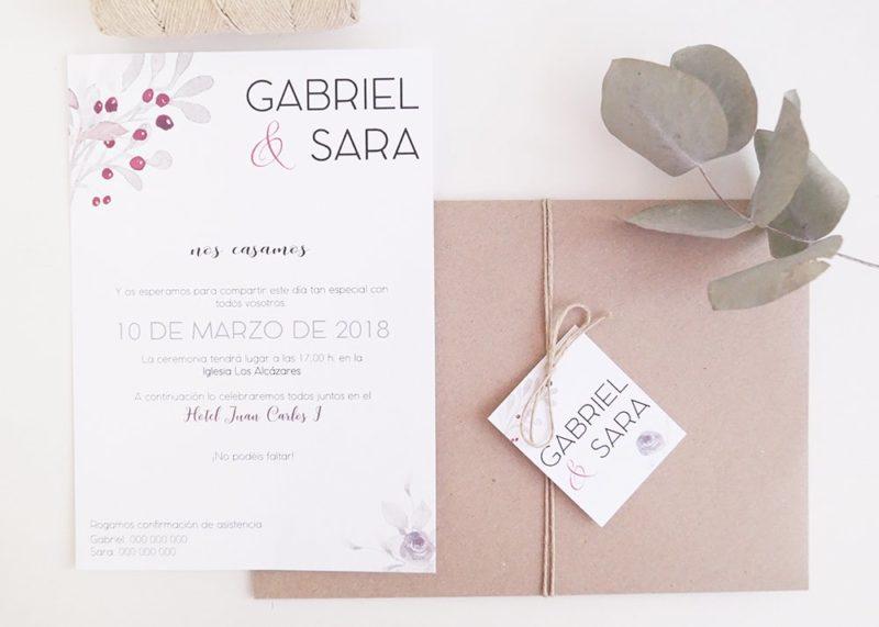 invitacion de boda elegante floral