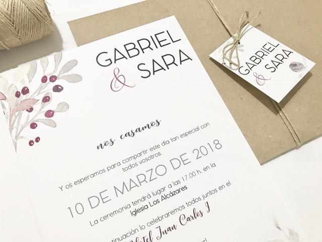 invitacion de boda elegante floral detalle