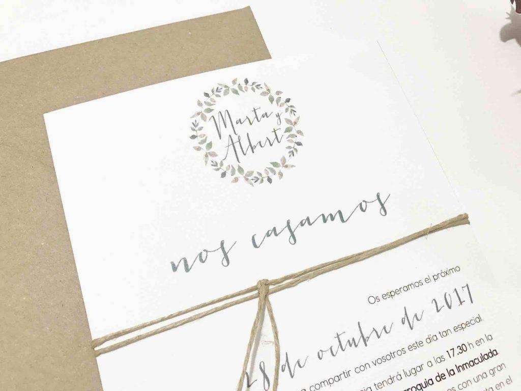 invitacion de boda rustica detalle cuerda
