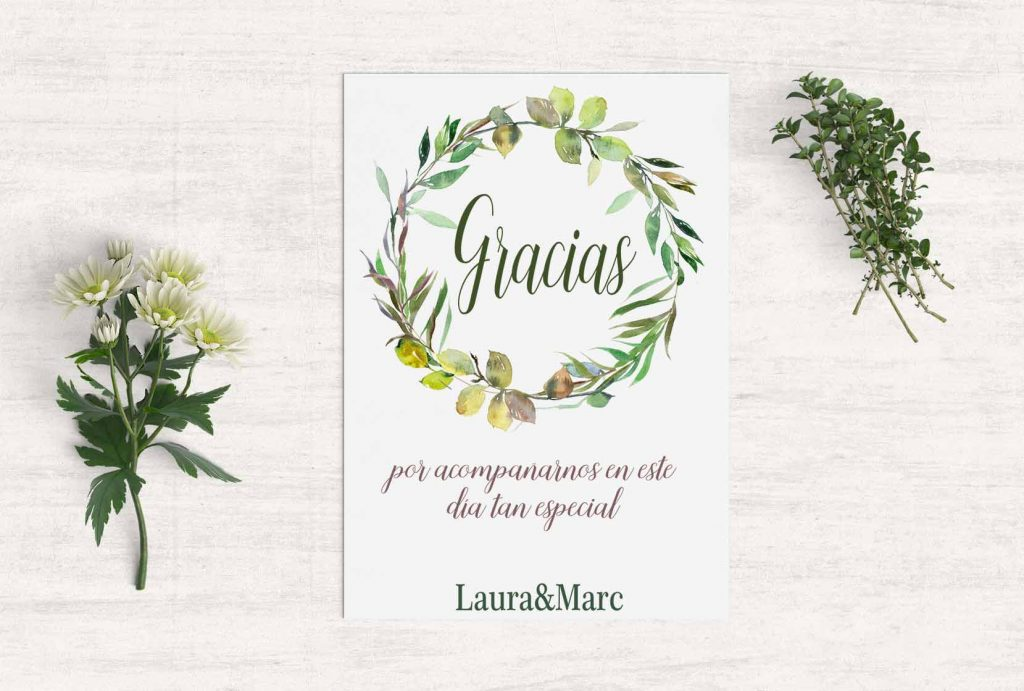tarjeta agradecimiento boda campestre martina design paper