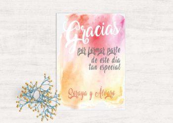 tarjetas de agradecimiento boda acuarela