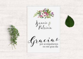 tarjetas de agradecimiento boda bouquet