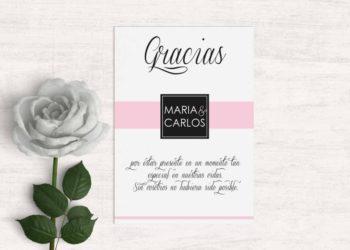 tarjetas de agradecimiento boda moderna