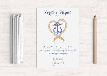tarjetas de agradecimiento boda playa