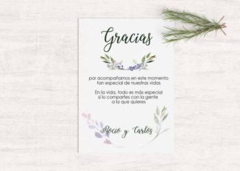 tarjetas de agradecimiento boda rustica