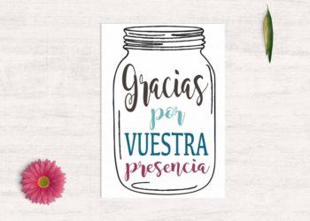 tarjetas de agradecimiento boda tarro