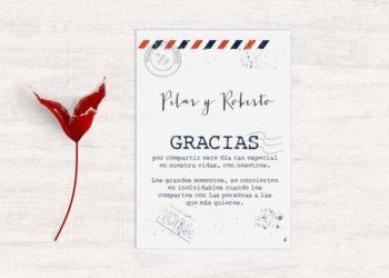 tarjetas de agradecimiento boda viaje