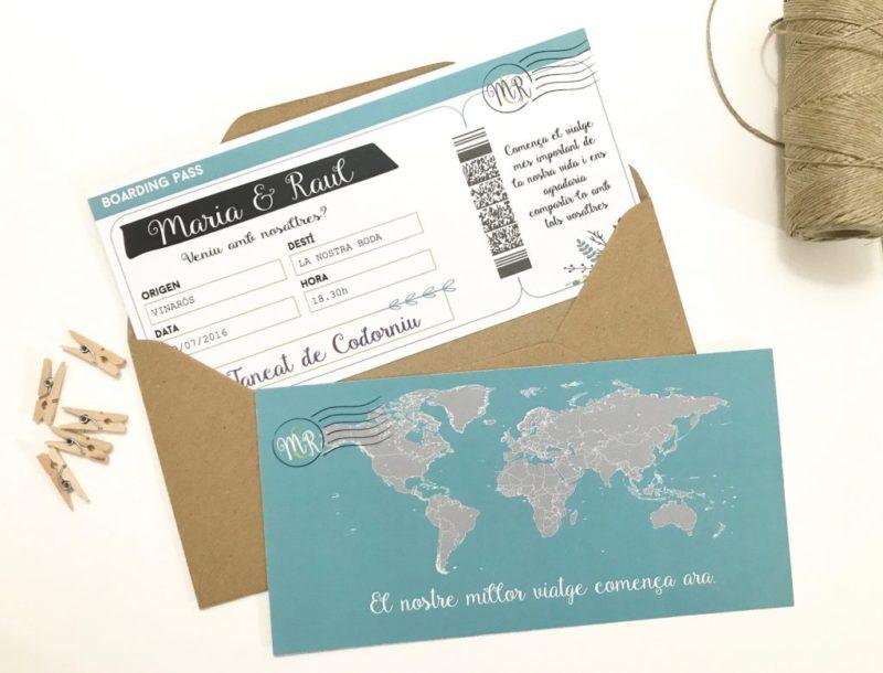invitacion de boda boarding pass