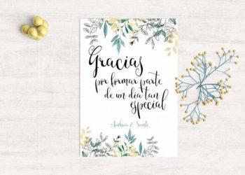 tarjeta agradecimiento vintage boda