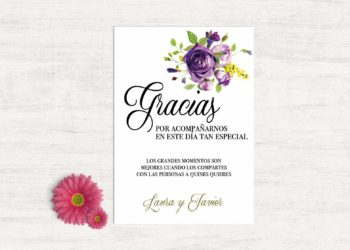 tarjeta gracias boda moderna