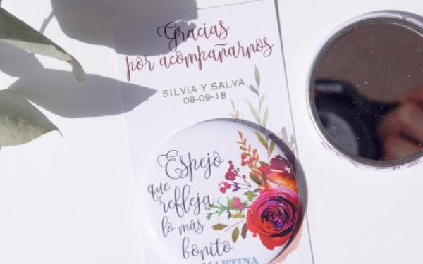 espejos personalizados boda flores