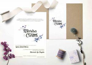 invitacion de boda con sobre decorado