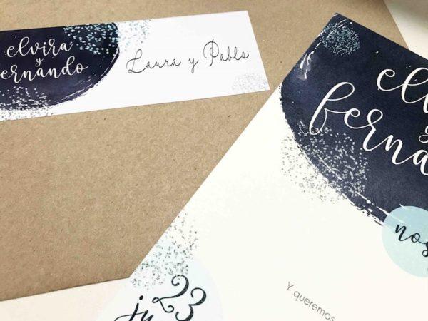 invitacion de boda azul detalle sobre