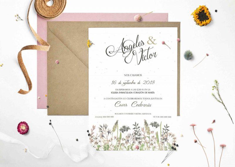 invitaciones de boda de semillas