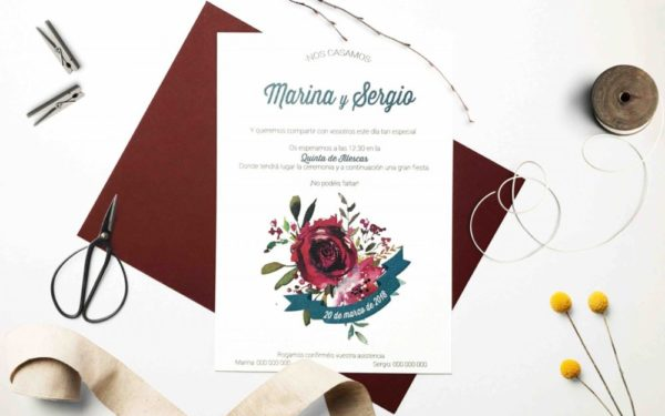 invitacion de boda de la flor roja