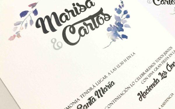 invitacion de boda con sobre decorado detalle flores