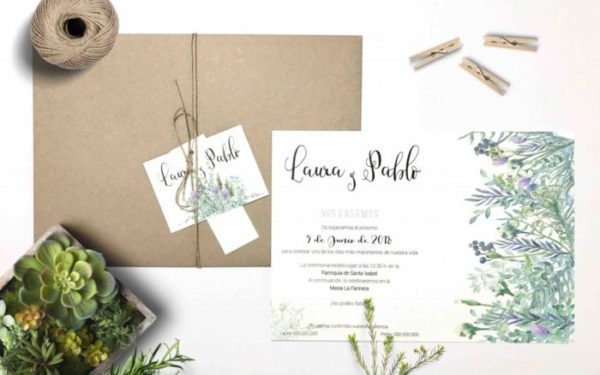 invitaciones de boda flores salvajes
