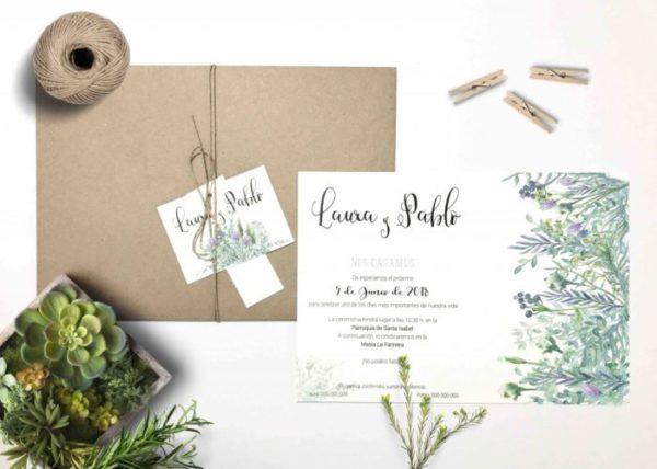 invitaciones de boda con flores salvajes