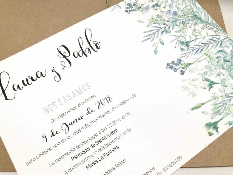 invitacion de boda flores salvajes detalle