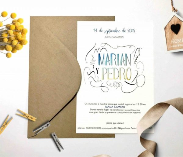 invitacion de boda moderna brush
