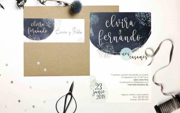 invitacion de boda original azules