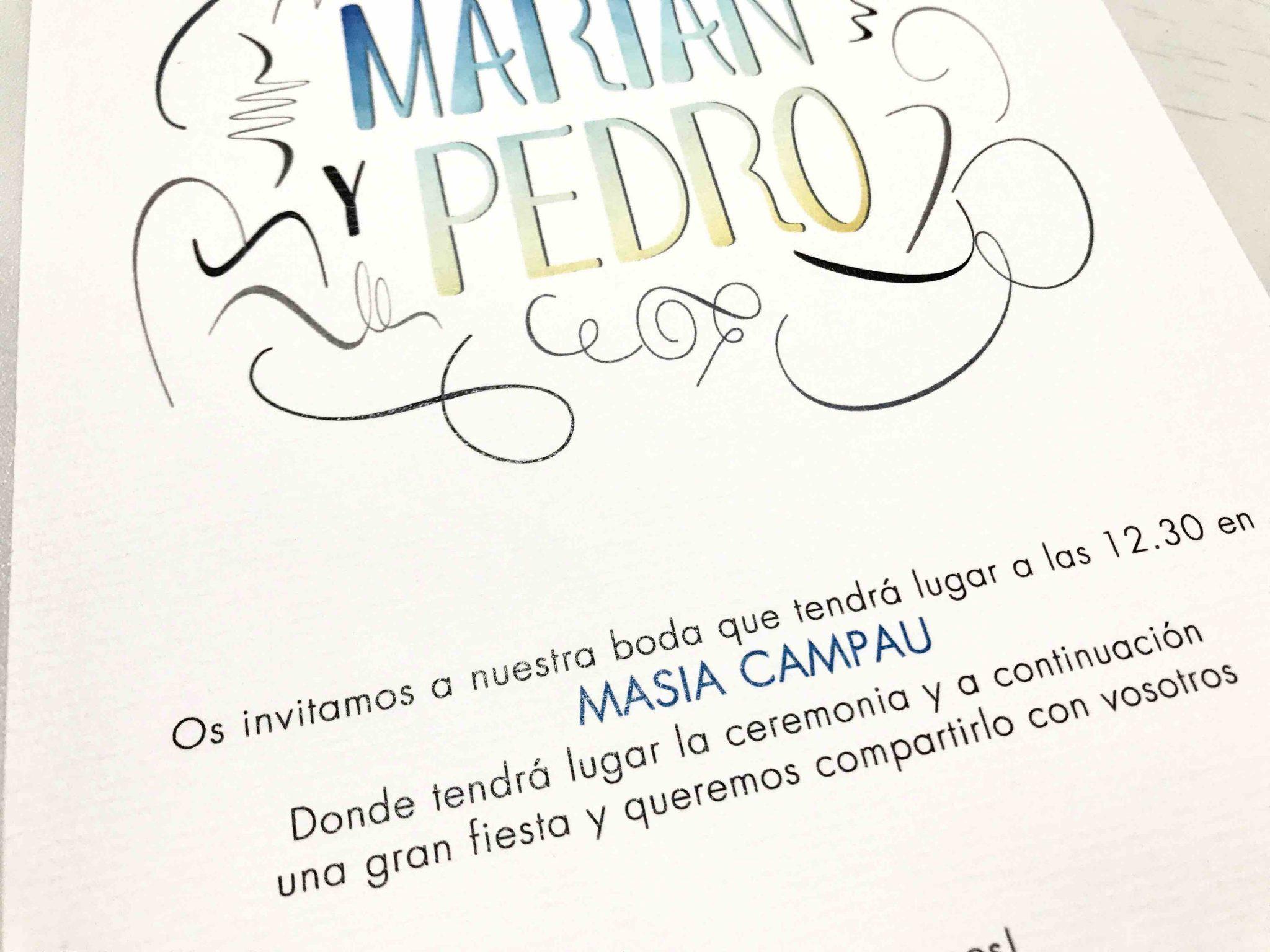 invitacion de boda moderna brush detalle papel