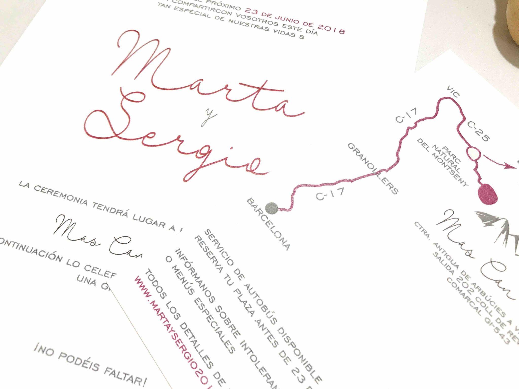 invitacion de boda sencilla y elegante detalle