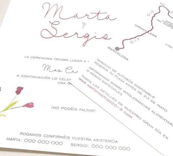 invitacion de boda sencilla y elegante color rojo