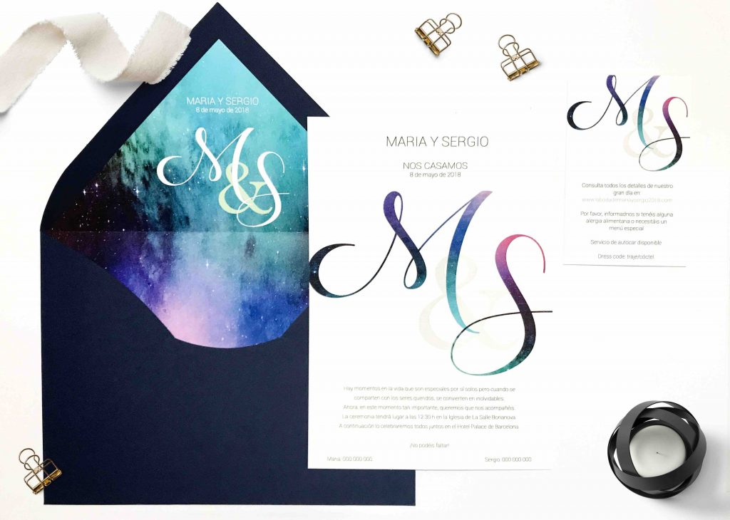 invitaciones de boda sobre forrado