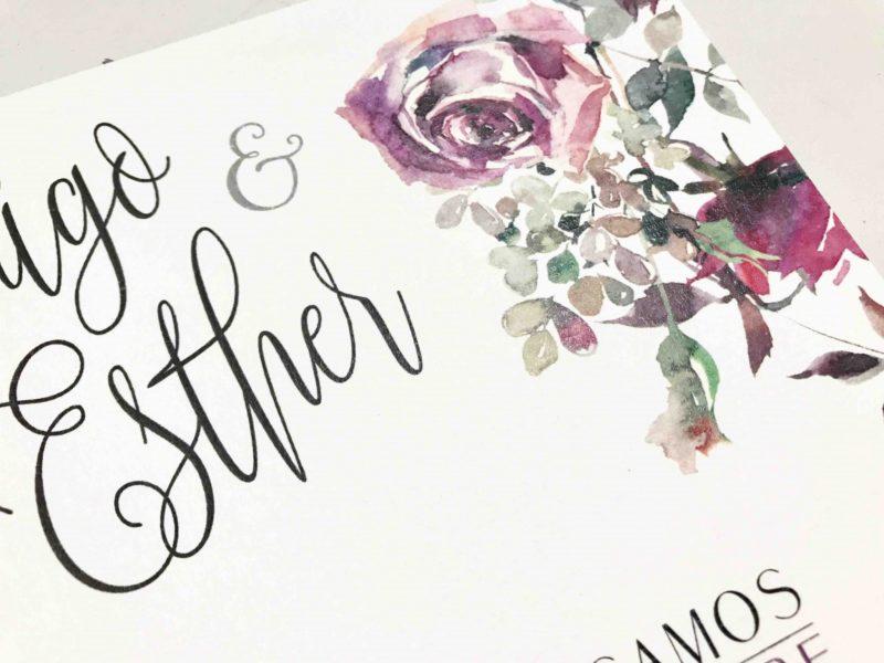 invitacion de boda con flores de acuarela detalle