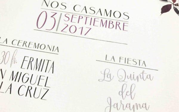 invitacion de boda con flores de acuarela detalle texto